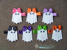 Your sweet little ones will look bewitching in these adorable hair clips this fall. The perfect Halloween hair accessory for all ages.  See more on my Facebook page.  #handmade #ghost #hairclip