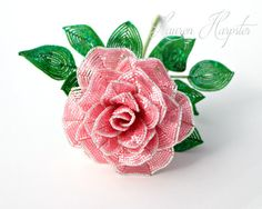 French Beaded Wavy Rose by Lauren Harpster Coral Pink flower Seed Bead Flowers, French Beaded Flowers, Embroidery Fabric, Beaded Embroidery, Small Flowers, My Flower, Beads And Wire, Coral Pink, Bead Crafts