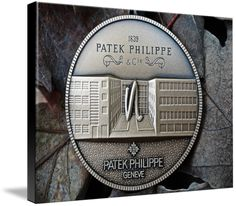 """Patek Philippe Geneve Commemorative Medal Coin $123 // Style: Black Edge Canvas Print; Size: Large 24"""" x 32"""" // Visit http://www.imagekind.com/Patek-Philippe-Geneve-PPG_art?IMID=8a85802b-eeec-4645-9012-f6a2af3151ab for product details."""