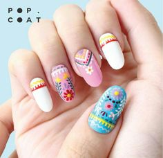 Embroidery inspired floral nail art