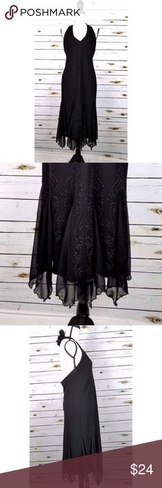 SL Fashions Halter Dress Beaded Chiffon Sz 12 S. L. Fashions dress size 12. Black halter, with chiffon panel flares. Beaded skirt, lined, zips in the back. Gentle wear, no holes, no stains.  Measurements: Bust: 40 Waist: 38 Hips: 44 Length: 47 SL Fashions Dresses