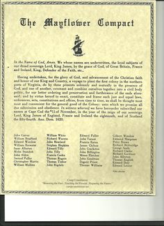William white ancestor- Shown on the list as a signer of the Mayflower Compact Us History, History Facts, Family History, American History, Genealogy Research, Family Genealogy, Genealogy Forms, Mayflower Compact, Teaching History