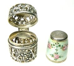 Antique Sterling Silver Germany Enamel Thimble Chatelaine Case Webster Co 1900s