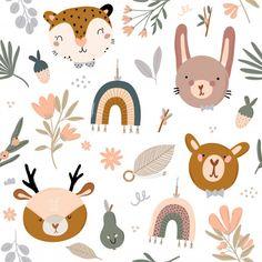 Illustration Blume, Baby Illustration, Pattern Illustration, Illustrations, Nursery Room Decor, Nursery Wall Art, Kids Wallpaper, Pattern Wallpaper, Pattern Art
