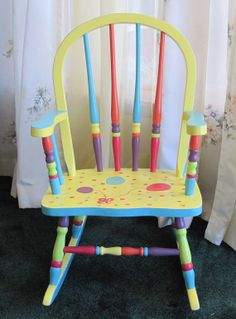 Childs Colorful Handpainted Rocker by SillySalmonHomeDecor, $150.00