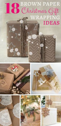 18 Brown paper Christmas Wrapping Ideas - check the article for inspiration!