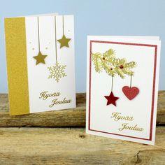 Joulukortit kuviolävistäjillä | DIY guide Diy And Crafts, Hand Crafts, Holidays And Events, Martini, Christmas Cards, Poster, Scrapbook, Handmade, Card Ideas