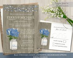 Rustic Wedding Invitation Suite Printable Mason jar wedding Hydrangeas Babys Breath Country Wedding Invites RSVP Set String Lights Blue DIY by NotedOccasions