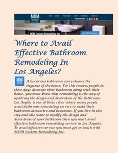 Attractive #BathroomRemodeling Service is available in Los Angeles. Remodel your Bathroom by the prominent home remodeling contractors. Read more through the link below ........