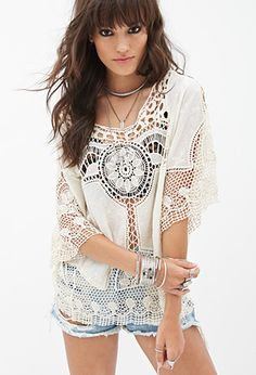 Crochet Woven Top | FOREVER 21 - 2000130067 Cover up