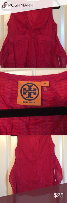 Tory Burch Sleeveless Blouse 👚 Cotton material, light weight, sleeveless top that ties in the back. Tory Burch Tops Blouses
