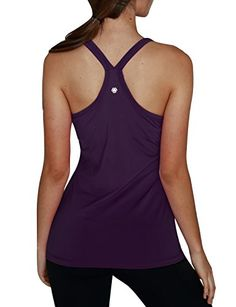 11718896892df Yoga Reflex Womens Basic Racerback Yoga Running Sports Workout Built in  Shelf Bra Activewear Tank Tops