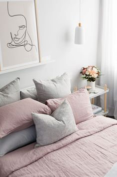Gina's home: Guest bedroom refresh. 100% pink linen bedding, MagicLinen bedding, pink and grey bedroom, beautiful bedroom, styled by Style Curator, illustration of face artwork, contemporary bedroom styling