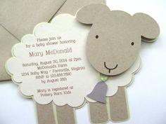 Vintage Lamb/Sheep baby shower invitation. For custom ordering, please contact:info@studio73b.com