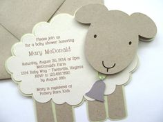 Vintage Lamb/Sheep baby shower invitation.  For custom ordering, please contact:info@studio73b.com