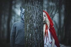 Little Red Riding Hood and the Big Bad Wolf Fantasy Dark Art Photography, Horror Photography, Forest Photography, Surrealism Photography, Wedding Photography, Photography Ideas, Dark Fairytale, Forest Fairy, Foto Art