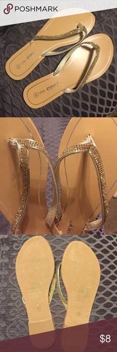 Gold flip flops Adorable gold flip flops, never been worn. They were a gift but sadly didn't fit. Via Pinky Collection Shoes Sandals