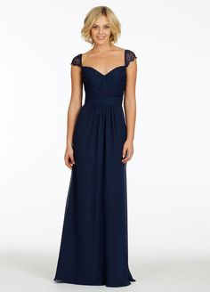 Modest Long Chiffon Royal Blue Bridesmaid Dresses with Sleeves vestido de festa longo Keyhole Back 2014-in Bridesmaid Dresses from Apparel &...