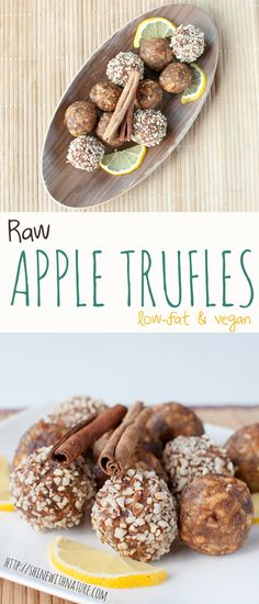 Raw Apple Truffles | ShineWithNature.com | #lowfat #801010 #vegan