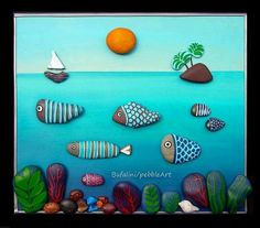 813 images about Kreativ - Rock / Stone / Pebble Art on We Heart It Pebble Painting, Pebble Art, Stone Painting, Rock Painting, Stone Crafts, Rock Crafts, Diy And Crafts, Pebble Stone, Stone Art