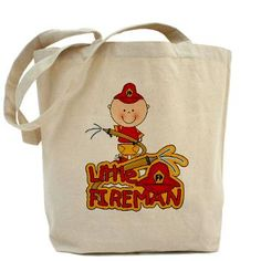 Little Fireman With Hose Tote Bag