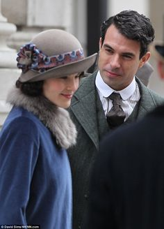 Look of love: The viscount, played by actor Tom Cullen, is seen looking intently at Lady Mary in a scene set in Liverpool, which was actuall...