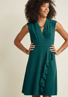 V-Neck Ruffle Dress in Teal in XXS - Cap A-line Midi by ModCloth
