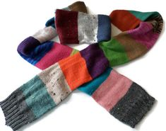 Scarf  Ladies Hand Knit Color Block Scarf  by PointedNeedle