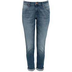 Wrangler Mid Blue Cropped Boyfriend Jeans ($62) via Polyvore