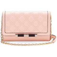 DIANE VON FURSTENBERG 440 Large Currency Quilted Leather Crossbody Bag (644295 PYG) ❤ liked on Polyvore featuring bags, handbags, shoulder bags, bolsos, pink dust, crossbody purses, cross-body handbag, chain handbags, diane von furstenberg purses and pink cross body purse