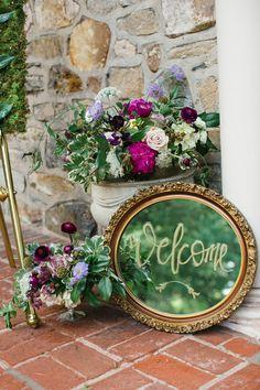 Unique welcome sign on mirror for wedding - English Garden Party Wedding Inspiration - Lauren Schwarz Photography
