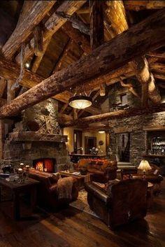 Beautiful living room. Cabin inspired