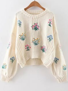 White Flower Embroidery Drop Shoulder Sweater — 34.09 € ---------color: White size: one-size