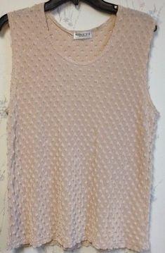 Women's Ladies Shirt Sleeveless Top Tan Beige Lightweight Textured Cute  #NinetyWoman #TankCami #Any