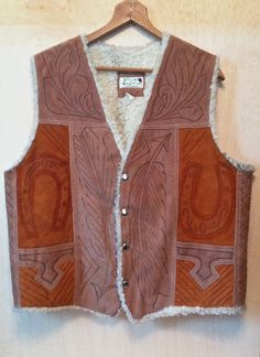 Vintage 1970s Hand Tooled Two-tone Faux Lined Snap Front Suede Leather Vest Southwestern Western Native American by ForestaVintage on Etsy