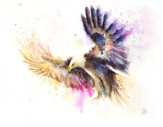 Flying eagle Painting Watercolor Print Color bird by BobaPainting