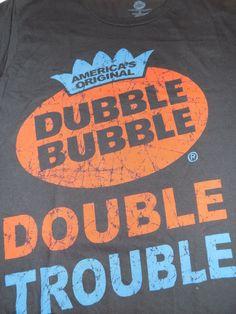 Dubble Bubble Double Trouble Bubble Gum T Shirt Size Medium Black #DubbleBubble #GraphicTee