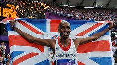 Mo Farah of Great Britain holds the Union Flag as he celebrates winning gold in the men's 5000m Final on Day 15 of the London 2012 Olympic Games at Olympic Stadium