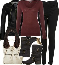 Pied a Terre red top, $21 / Black jacket, $405 / Topshop black skinny jeans / Forever 21 shoes / Mossimo long strap purse / River Island textured ring, $10