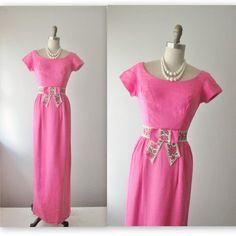 50's Column Dress // Vintage 1960's Pink Linen by TheVintageStudio