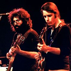 Jerry Garcia and Bob Weir of the Grateful Dead performing in 1972.