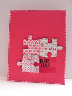 handmade card ... missing puzzle piece ... hot pinks ... clean and simple card ...