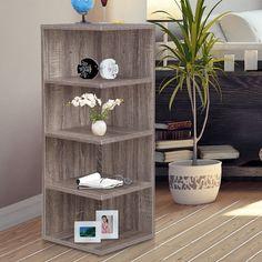Corner Shelf Crate Tan Distressed Rustic Knickknack