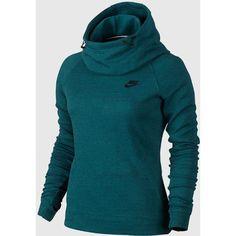 Nike - Women's Tech Fleece Hoodie (Teal) (1 050 ZAR) ❤ liked on Polyvore featuring tops, hoodies, sweatshirt hoodies, blue hoodie, tech fleece hoodie, blue hooded sweatshirt and hooded pullover