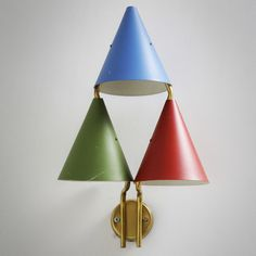 Brass and Enameled Metal Wall Light, Hanging Lights, Wall Lights, Wall Lamps, Mid Century Lighting, Look Vintage, Antique Lighting, Vintage Lamps, Mid Century Modern Furniture, Light Fittings
