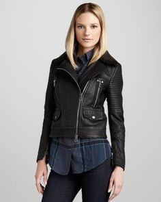 Burberry Brit Washed Leather Motorcycle Jacket - Neiman Marcus --One day when I figure out how to get rich