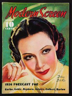1936 Modern Screen Magazine Dolores Del Rio Jean Harlow Cary Grant
