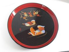 Vintage Lacquer round Tray with Mandarin Ducks by tjmccarty, $24.00