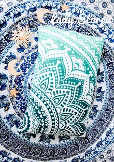 Turquoise Mandala Pillow Cover by Lady Scorpio | Shop Now LadyScorpio101.com | @LadyScorpio101 | Photography by Luna Blue @Luna8lue | Boho Bedroom Inspiration.