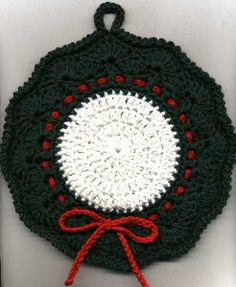 Christmas Wreath Potholder and Dishcloth